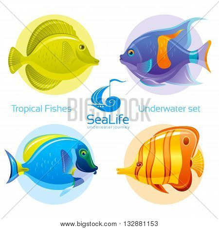 Icon set with tropical fishes - surgeonfish, angelfish and butterflyfish