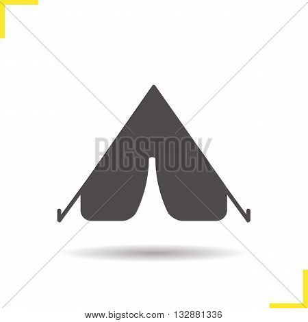 Tent icon. Drop shadow tent icon. Tourist equipment. Boyscout outdoor shelter. Isolated tent black illustration. Logo concept. Vector silhouette tent symbol