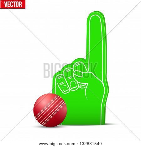 Symbol of Cricket Sports Fan Foam Fingers and ball. Vector Illustration Isolated on white background.