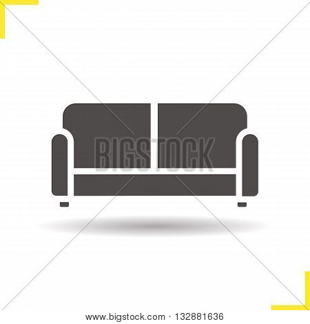 Couch icon. Drop shadow upholstered sofa silhouette symbol. Modern comfortable furniture. House interior item. Vector isolated illustration