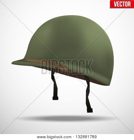 Military US green helmet infantry of WWII. Side view. Metallic army symbol of defense. Vector illustration Isolated on white background.