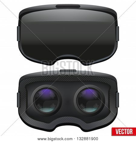 Set of Original stereoscopic 3d vr headset. Front and Inside view. Vector illustration Isolated on white background.