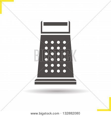 Grater icon. Isolated stainless grater illustration. Drop shadow gater tool icon. Stainless kitchen utensil. Kitchen grater logo concept. Vector grater. Silhouette stainless symbol
