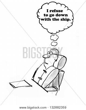 Business cartoon showing a man wearing a life jacket.
