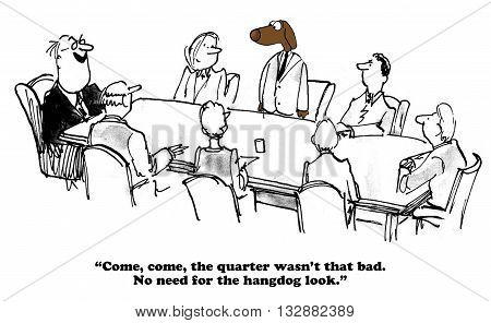 Business cartoon about average quarterly financial results.