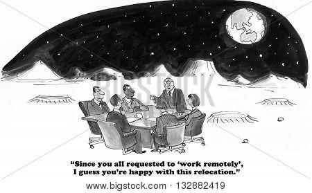 Business cartoon about workers who want to work remotely.