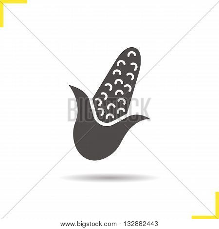 Corn icon. Isolated corn illustration. Drop shadow maize icon. Seasonal agricultural grain plant. Corn logo concept. Vector maize. Silhouette corn symbol. Maize icon. Isolated maize illustration