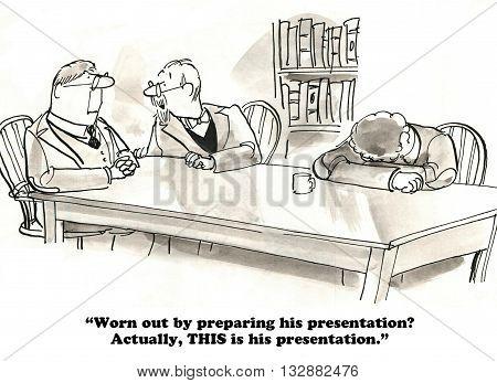 Business cartoon about an unprofessional presentation meeting.