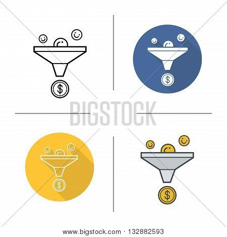 Sales funnel icon. Flat design, linear and color styles. Finance. Marketing funnel isolated vector illustrations