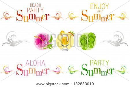 Summer bunners with text, swirls and colorful icons