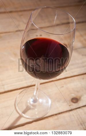 Glass Of Wine On Wood