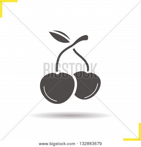 Cherry icon. Isolated cherry fruit illustration. Drop shadow cherry icon. Ripe fresh cherry icon. Sweet juicy berry. Cherry logo concept. Vector cherry berry. Silhouette cherry fruit symbol