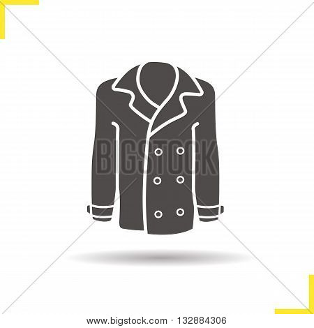 Coat icon. Drop shadow jakcet silhouette symbol. Men and women seasonal leather outerwear. Coat logo concept. Vector leather jacket isolated illustration