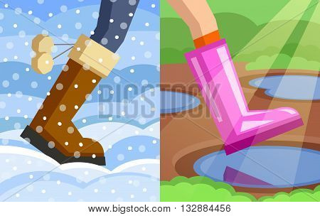 Legs of walking person, one foot dressed in winter boot on snowy winter background, another foot dressed in rubber boot on spring background. Step from winter to spring. Change of seasons concept