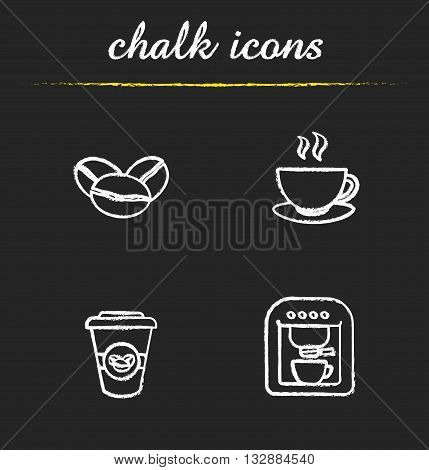 Coffee chalk icons set. Coffee beans, steaming cup, coffee paper cup and coffee machine. White illustrations on blackboard. Vector chalkboard coffee logo concepts