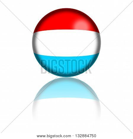 Luxemburg Flag Sphere 3D Rendering