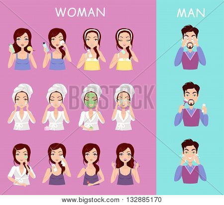 Instructions to wash face of woman and man. Boy washes his face with water and a shave. Girl cares for the person doing facials causes mask on the face. Vector illustration flat design style