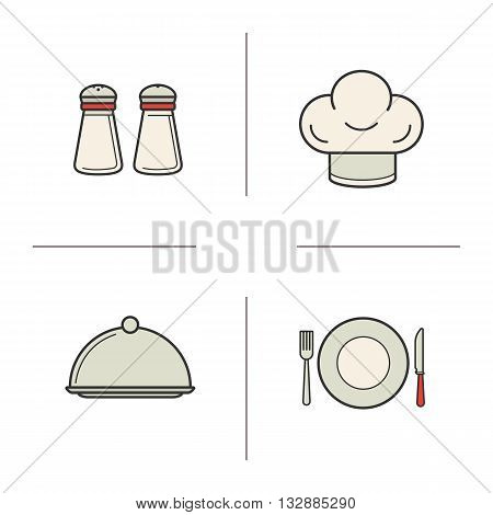 Restaurant kitchen equipment color icons set. Salt and pepper shakers, chef's hat, covered dish. Fork, knife and plate. Tableware. Vector isolated illustrations