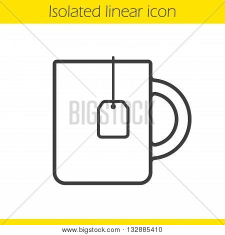 Teacup linear icon. Thin line illustration. Hot drink mug. Contour symbol. Teacup with teabag logo concept. Vector isolated outline drawing