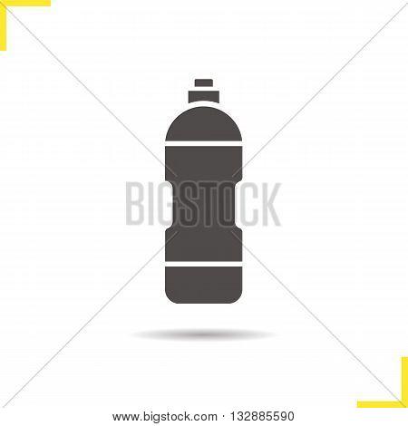 Water bottle icon. Drop shadow sport bottle silhouette symbol. Sportsman personal bottle. Water bottle logo concept. Vector sport bottle isolated illustration