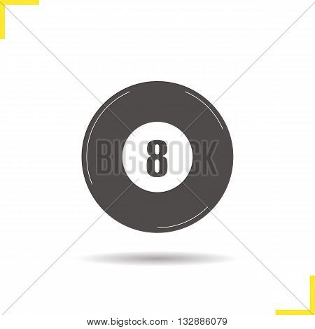 Eight ball icon. Drop shadow billiard silhouette symbol. Sports equipment. Billiard eight ball logo concept. Vector billiard isolated illustration