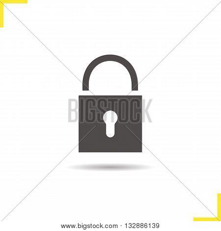 Lock icon. Isolated padlock illustration. Drop shadow locked icon. Security device icon. Lock logo concept. Vector padlock. Silhouette door lock symbol. Padlock icon. Isolated locked illustration poster