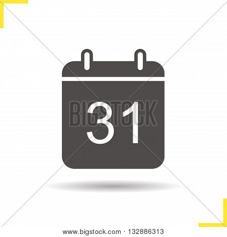 Calendar icon. Drop shadow date silhouette symbol. Office binder calendar. Special events date reminder. Calendar logo concept. Vector date isolated illustration