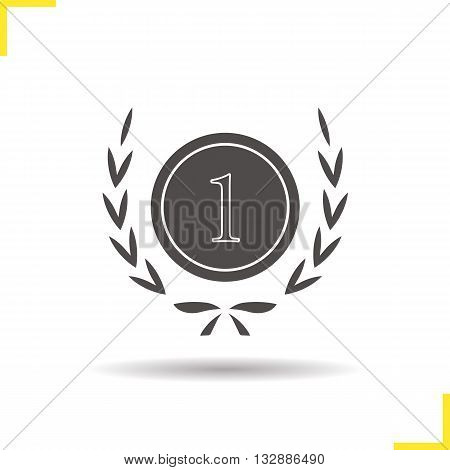 Winner icon. Drop shadow 1st place silhouette symbol. Sports competitions winner symbol. Tournament winner logo concept. Vector 1st place isolated illustration
