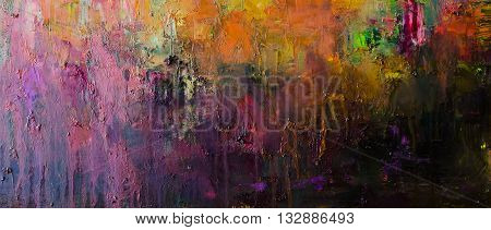Abstract oil painting background. Oil on canvas texture. Hand drawn oil painting.Color texture. Fragment of artwork. Brushstrokes of paint. Modern art. Contemporary art. Colorful canvas.
