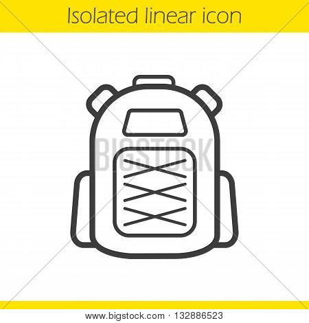 Backpack linear icon. Schoolbag thin line illustration. Tourist's equipment. Student's schoolbag. Contour symbol. Backpack logo concept. Vector isolated outline drawing