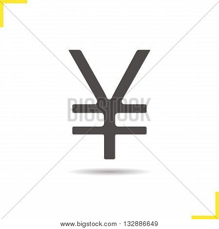 Yen sign icon. Drop shadow Japan sign silhouette symbol. Japan currency symbol. Yen sign logo concept. Vector Japan yen sign isolated illustration
