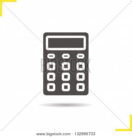 Calculator icon. Drop shadow calculation silhouette symbol. Office equipment. Business electronic device. Calculator logo concept. Vector calculation isolated illustration