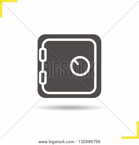 Deposit box icon. Drop shadow bank vault silhouette symbol. Safe deposit box. Vector isolated illustration