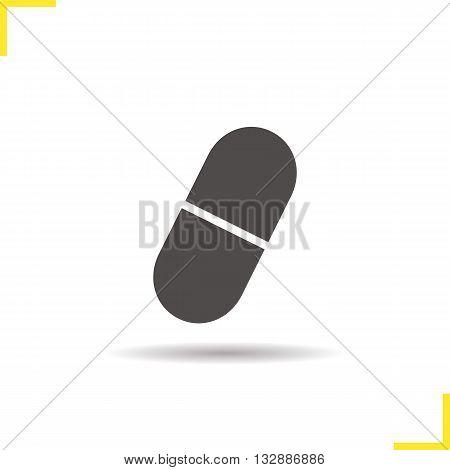 Pill icon. Drop shadow aspirin capsule silhouette symbol. Drugstore item. Medication. Vector isolated illustration