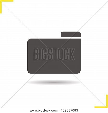 Folder icon. Drop shadow documents and papers file silhouette symbol. New folder sign. Vector isolated illustration