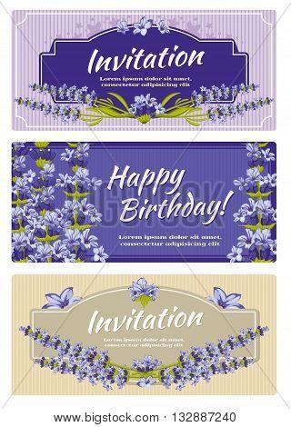 Greeting card, wedding invitation vector template with lavender flowers. Greeting invitation card for wedding and card template with flower lavender illustration