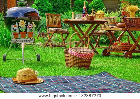 Summer Barbecue Family Party Scene Concept With Sign Welcome