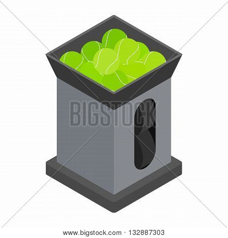 Tennis ball machine icon in isometric 3d style on a white background