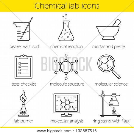 Chemical laboratory equipment linear icons set. Beaker with rod, chemical reaction and test checklist. Molecule structure and lab burner. Chemistry lab tools. Thin line. Isolated vector illustrations