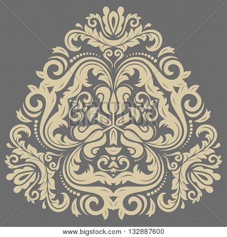 Damask floral pattern with oriental elements. Abstract traditional triangular golden ornament
