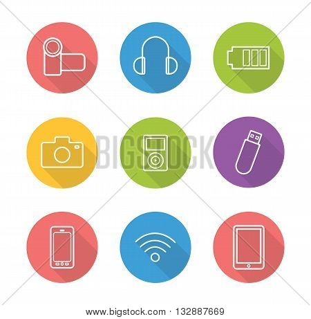 Consumer electronics flat linear long shadow icons set. Modern gadgets. Smartphone, tablet computer and camera. Outline consumer electronics logo concepts. Vector illustrations
