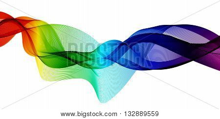 Abstract colorful background with waves. Waves in different colors: pink, purple,red,orange,yellow,green,blue. Abstract color wave. Template brochure design. Vector illustration.