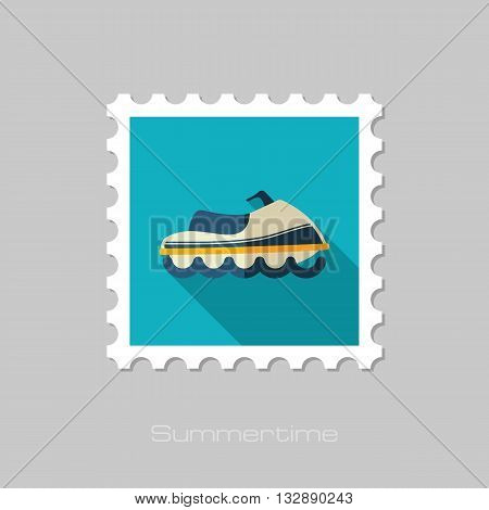 Watercraft vector flat stamp with long shadow. Beach. Summer. Summertime. Vacation eps 10