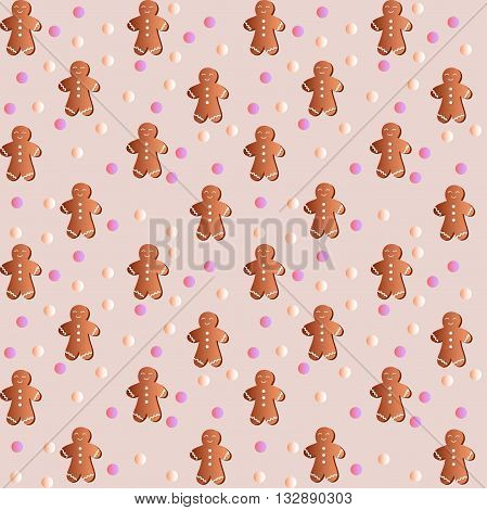 Drawing of a seamless pattern with gingerbreads in the form of manikin - boys