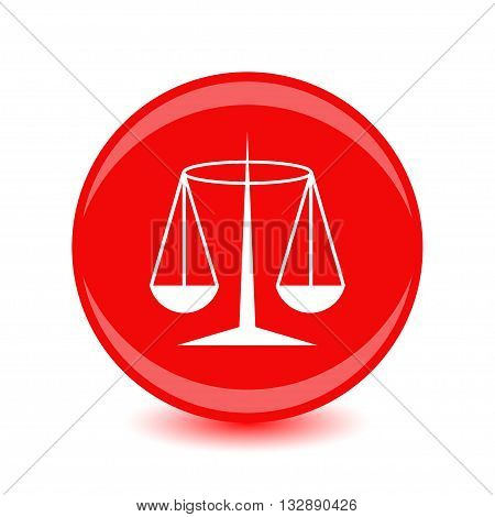 White Justice badge on a red background