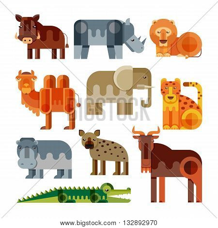 Geometric flat Africa animals. Lion cheetah hyena warthog elephant camel crocodile hippo rhino wildebeest. Vector set of different african animals isolated.