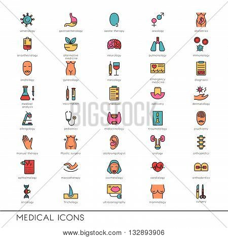 Vector flat line icons with medical symbols specialization. Medical professions. Line icons of narcology cosmetology obstetrics medical testing and other.
