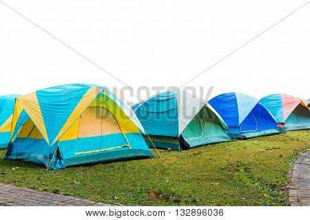 group of tourist tent isolated on white with clipping path