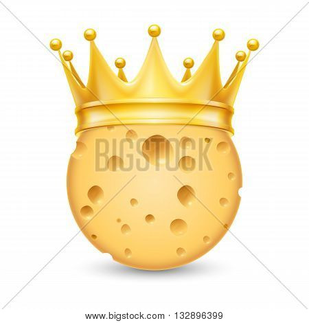 Golden crown on the head of cheese isolated on white background