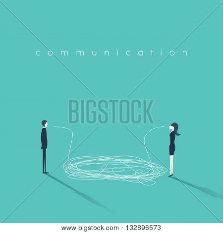 Business communication concept vector illustration. Issues and problems between men and women at work. Communication breakdown concept. Eps10 vector illustration.
